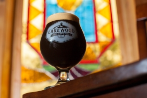 Lakewood Temptress milk stout in the taproom