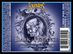 Check out the new label art for Founders Brewing's Dark Penance IPA