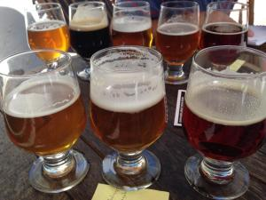Flight of 5 Stone Brewing Beers at their San Diego Taproom