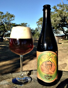 Figlet bottle and glass from Jester King Brewery